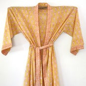 Image of Anokhi Half Length Cotton Robe Yellow and White 