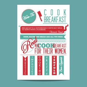 Image of Vintage Type Print - How To: Cook Breakfast