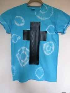 Image of Tie Dye Faux Snakeskin Cross Tshirt
