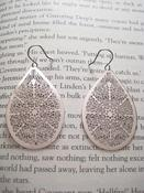 Image of Silver Plated Filagree Teardrop Earings