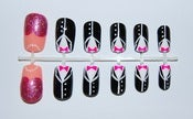 Image of Tuxedo black and white fake nail art set