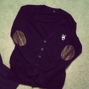 Image of Vintage LYD Cardigan (Black/White) w/ Dark Brown Suede Elbow Patches