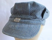 Image of Vintage 1960s Lee Union Made Sanforized Hickory Stripe Engineer Cap Size 7 3/8