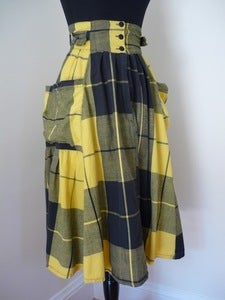 Image of yellow &amp; black plaid cotton skirt