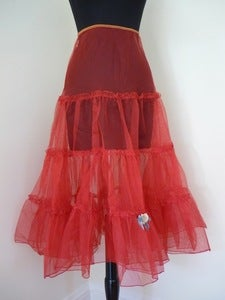 Image of 50s red net tulle crinoline skirt