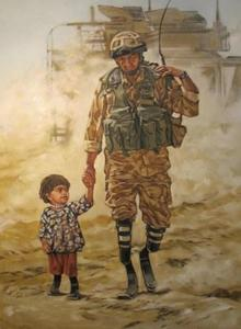 "Image of ""Soldier and Child"" Oil on Canvas by Cosmo Sarson"