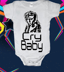 Image of CRY BABY 80's JOHNNY DEPP BABY ONESIE ONE PIECE BODYSUIT