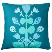 Image of Folk Flower cushion green/blue