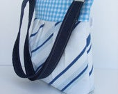Image of Blue/White Pleated Cross Body Convertible Bag
