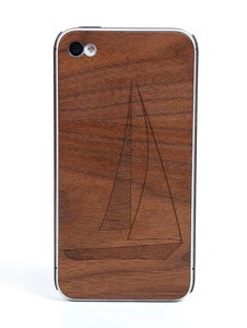 Image of IPhone wood cover &quot;Sailboat&quot; walnut
