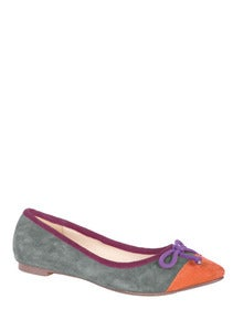 Image of Ravel Block Colour Flat Shoes Pumps Grey Tan