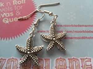 Image of Stunning Silver Coloured Starfish Earrings Sealife Nautical Seaside