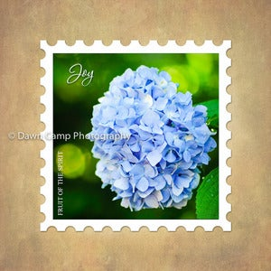 Image of Joy 10&quot; x 10&quot; Hydrangea Stamp Motif Canvas from the Fruit of the Spirit Collection