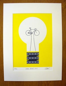 Image of Pedal Power screen print by Rebecca J Kaye
