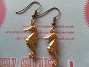 Image of Goldtone Seahorse Earrings Nautical Sea Life Sea Creature Marine Seaside Coast