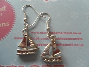 Image of Silver Coloured Sailing Boat Yacht Earrings Seaside Nautical Boating