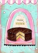 Image of Chocolate Cake mixed media collage matted PRINT 8x10 fits 11x14 frame
