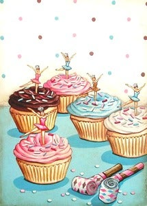 Image of vintage bakery inspired ballerina birthday party cupcakes matted print