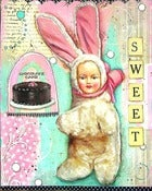 "Image of ""sweet"" mixed media bunny baby print"