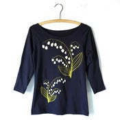 Image of Lily of the Valley Navy 3/4 Sleeve Top