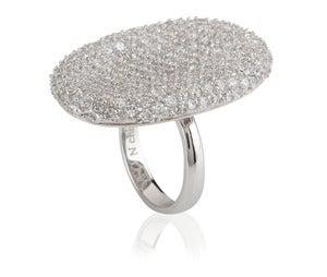 Image of Kara Ackerman <i> Talulah <i> Pave Cocktail Ring in Rhodium Plating