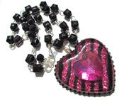 Image of Floating Heart necklace Pink &amp; Black