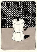 Image of Coffee Pot with Wallpaper