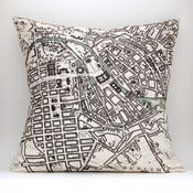 Image of Vintage BERLIN Map Pillow, Made to Order 18&quot; x18&quot; Cover