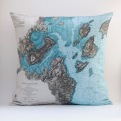 "Image of Vintage PORTLAND Nautical Chart Pillow, Made to Order 18"" x18"" Cover"