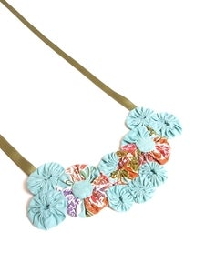 Image of Teal Batik Rosette Necklace
