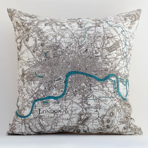 Image of Vintage LONDON Map Pillow, Made to Order 15 x15 Cover