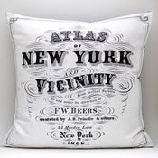 Image of Vintage ATLAS TITLE Pillow, Made to Order 18 x18 Cover