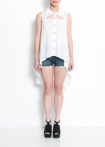 Image of Cameron Sleeveless Button-up