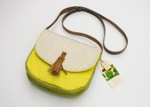 Image of --SOLD OUT-- a small cross body bag with canary yellow teeny sunburst print flap
