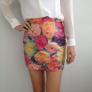Image of Spring Love Floral Print Leather Bodycon Skrit