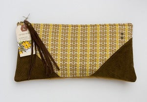 Image of -- S O L D -- OOAK-- mustard + brown print clutch with brown leather corners + tassel detail