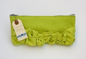 Image of -S O L D- a roundy-bottomed tough ruffles zipper purse in bright celery greens