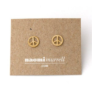 Image of Peace Sign Studs | Golden {10% OFF + FREE SHIPPING}