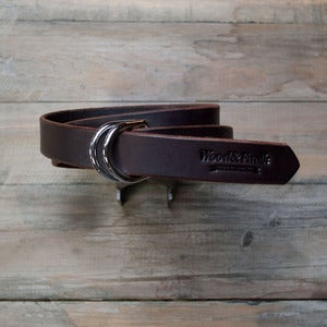 Image of W&amp;F D-Ring Belt - 1in Brown/Chrome
