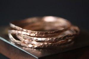 Image of Hammered 14kt Rose Gold Stacking Bangle