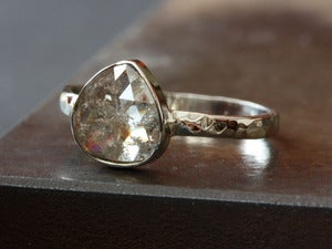 Image of One of a Kind Silvery Champagne Rose Cut Diamond Stacking Ring in 14kt White Gold