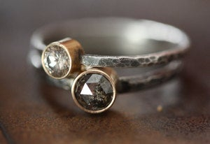 Image of Large Silvery-Black Rose Cut Diamond Ring