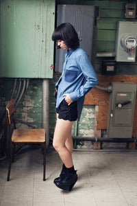 Image of Long Sleeve Denim Colour Block Shirt w/ Jersey Back - Blue