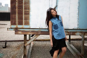 Image of Sleeveless Denim Colour Block Shirt w/ Jersey Back