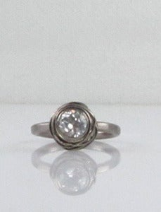 Image of Nested White Topaz and Palladium Engagement Ring