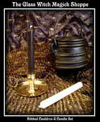 "Image of 4 1/2"" Ribbed Cast Iron Cauldron With Lid & Candle Set"