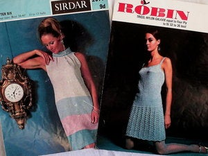 Image of 2 Original Knitting Patterns 1960's Vintage Dresses