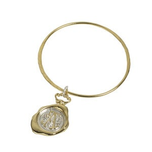Image of Personalised Gold Wax Seal Bangle (A-Z)