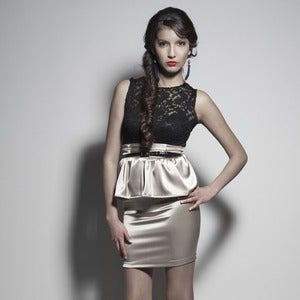 Image of Lace Crop Top w/ Stretch Satin Peplum Skirt