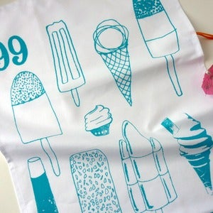 Image of Ice Cream Lollies tea towel - turquoise